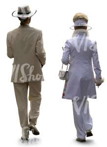 cut out extragavant couple walking