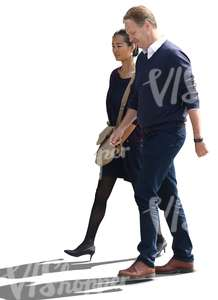asian woman and an european man walking side by side
