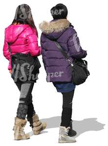 two asian women in winter coats seen from behind