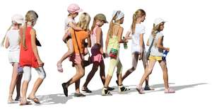group of young blonde girls walking