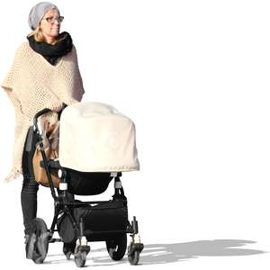 woman walking with a baby carriage