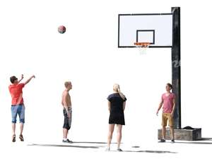 cut out group playing basketball