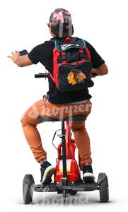 cut out man riding a tricycle