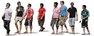 group of men in shorts walking