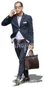 cut out businessman talking on the phone