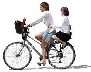 mother and daughter riding on a bike together