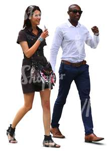 white woman and black man walking and talking