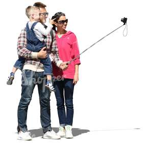 family standing and taking a selfie