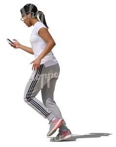 woman jogging while listening to music