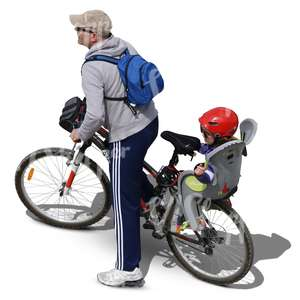 man riding a bike with his son on the back