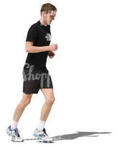 cut out young man jogging