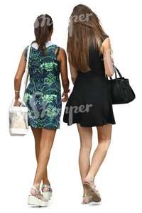 two women in mini dresses walking together