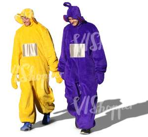 two men dressed as teletubbies walking