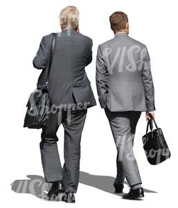 two cut out businessmen walking side by side