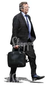 cut out middle-aged businessman walking with a briefcase in hand