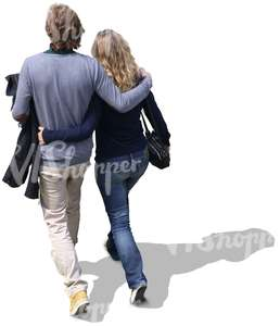 a couple walking with arms around each other