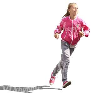 young girl in a pink jacket running