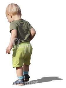 toddler in green pants walking
