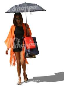 woman with a parasol and shopping bags walking
