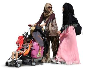 two muslim women walking with a baby carriage