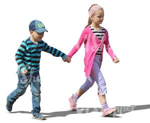 young boy and girl walking hand in hand