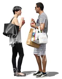 man and woman with many shopping bags standing and eating ice cream