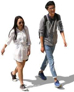 young Asian man and woman walking and talking
