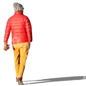 man in colorful autumn clothes walking