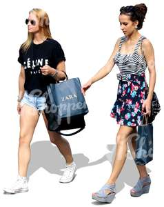 two women with shopping bags walking