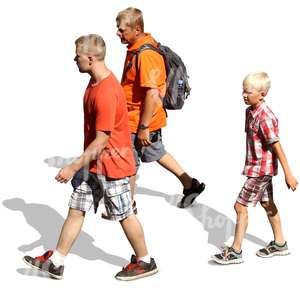 father with two sons walking
