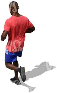 man in a red shirt jogging