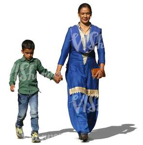 indian woman walking hand in hand with her son