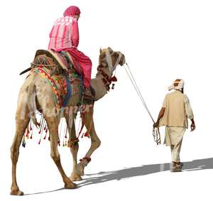 man steering a camel with a woman riding on it