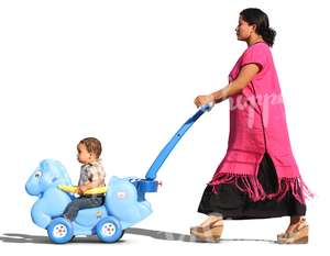 latina woman pushing a child in a toy carriage