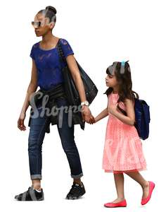 black woman walking hand in hand with her daughter