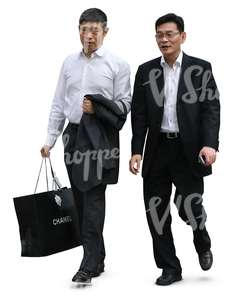 two asian businessmen with shopping bags