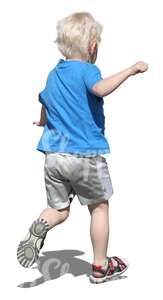 cut out blond boy running