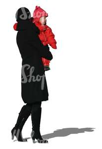 cut out woman holding a child in winter