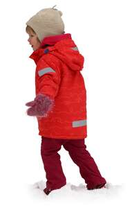 girl in a red winter jacket walking in the snow