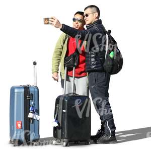 two travelling asian men taking a selfie