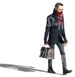 young man walking and carrying a bag