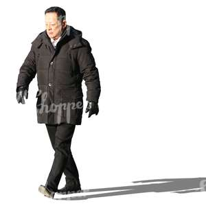 asian man wearing a black coat walking
