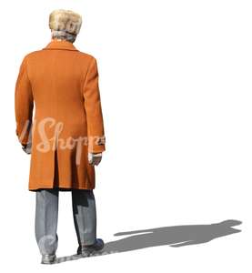 man in an orange winter coat walking