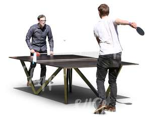 two men playing outoor table tennis