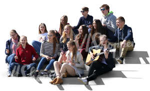 group of teenagers sitting on the stairs and singing