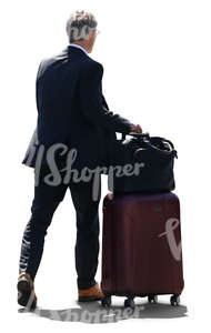 travelling businessman with a large suitcase