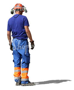 construction worker with helmet and headphones standing