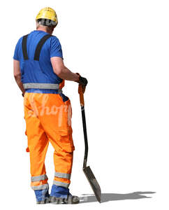 workman standing and holding a shovel