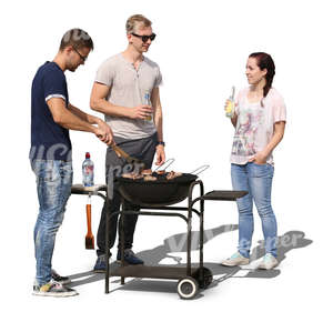 group of three young people having a bbq party
