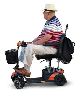 elderly man sitting on a scootmobile